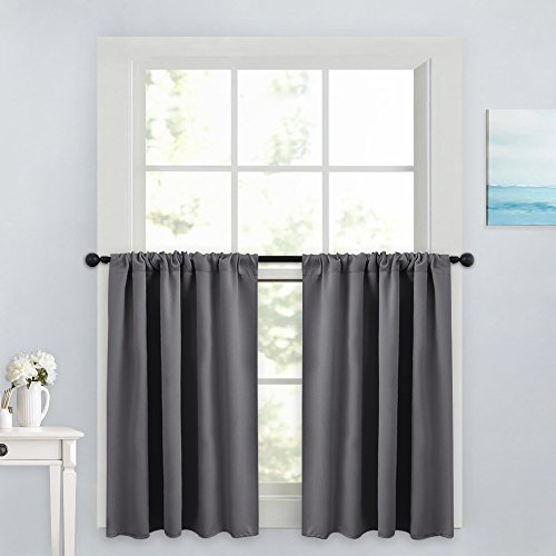 PONY DANCE Gray Curtain Tier - Rod Pocket Blackout Panels Window Treatments Small Curtains Tailored Tiers/Valances for Kitchen, W 42 x L 36 inches, Grey, 2 Pieces