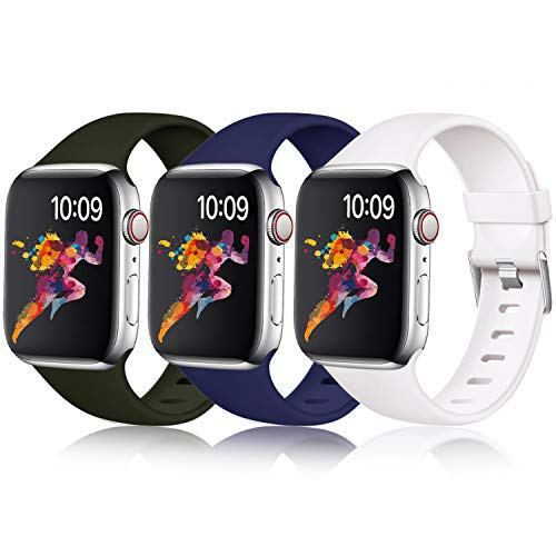Laffav Band Compatible with Apple Watch 44mm 42mm iWatch Series 5 4 3 2 1 for Women Men, Black, Midnight Blue, White, 3 Pack, S/M