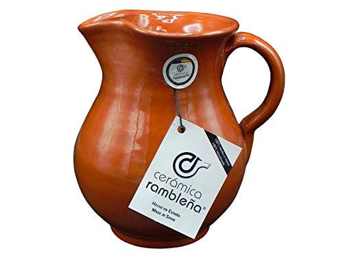 CERÁMICA RAMBLEÑA | Jarra de Cerveza | Jarra de Agua | Jarras de Barro Rojo | 100% Hecho a Mano | 1.5 litros