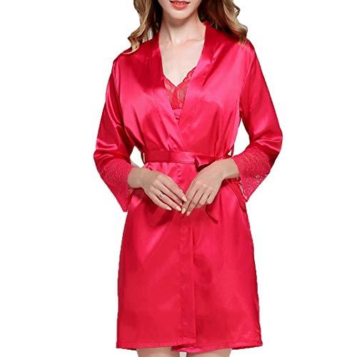 DyM Pijamas camisón de seda de simulación para mujer camisón de casa con cuello en V pijama sexy para mujer(Color:Red,Size:L)