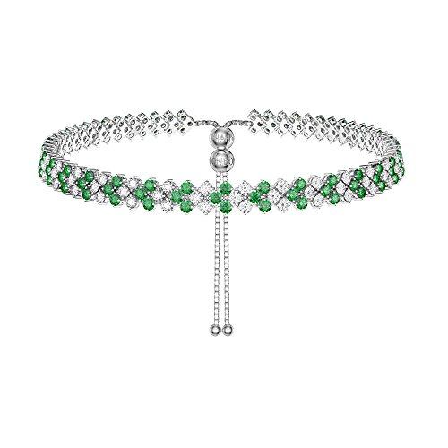 Eternity a tre file con smeraldi e diamanti CZ tennis collana girocollo argento regolabile