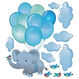Cute Blue Balloon Elephant Cloud Bird Decals,Peel and Stick Removable Wall Stickers for Kids Nursery Bedroom Living Room,9x10inch