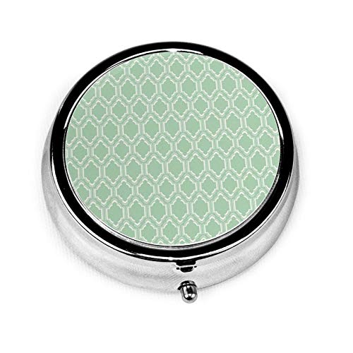 Chic Mint Moroccan Round Pill Container 3 Compartment Metal Medicine Case Vitamin Organizer Holder Decorative Box for Travel Outdoors