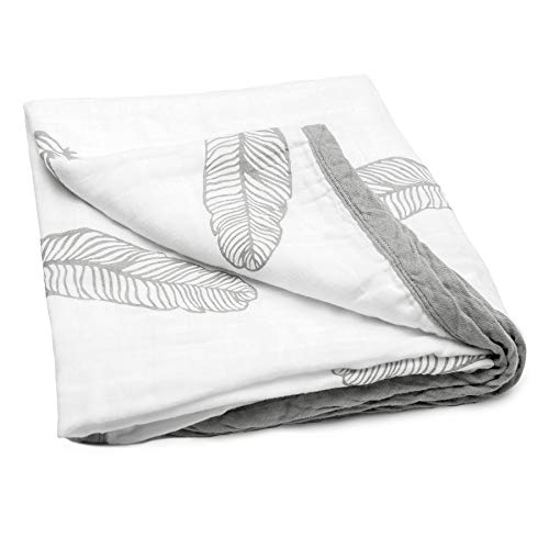 JoLayLe Baby Muslin Quilt Extra Soft 100% Cotton Muslin Baby Blanket for Boys amp Girls 47quotx 47quot Gender Neutral Feathers Baby Quilt Registry Gift