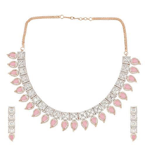 SONI SAPPHIRE - Parure composta da Collana e Orecchini placcati in Oro Rosa e Argento con Diamanti Indiani Americani e Orecchini Rosa Chiaro