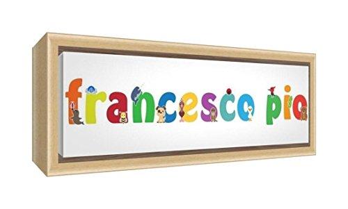Little Helper LHV-FRANCESCO PIO-1542-FCNAT-15IT Impression sur toile encadrée en bois naturel, motif personnalisable avec le nom des garçons français Pio, multicolore, 19 x 46 x 3 cm