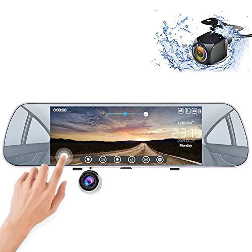 Mirror Dash Cam, Backup Camera 7' Dashboard Camera Touch Screen 1080P Front & 720P Rear Waterproof Reversing Camera
