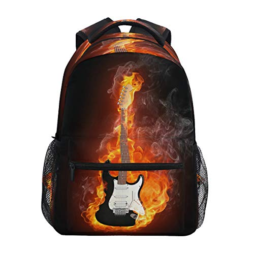 Blueangle Electric Guitar In Fire Flames Print Travel Backpack for School Water Resistant Bookbag