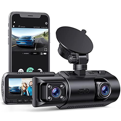 EYETOO Dash Cam 4K UHD GPS, Doppia Telecamera per Auto Anteriore e Posteriore 3,2 Pollici e Grandangolare di 320°, Dashcam Monitor di Parcheggio, Visione Notturna, WDR, G Sensore Max. 256GB