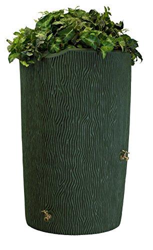 Good Ideas IMP-C90-GRN Impressions Tree Bark Rain Barrel, 90-Gallon, Green