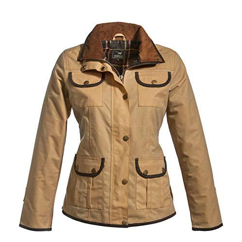 MGO Leisure Wear Modische sportliche taillierte Wachs Jacke Alister Damen Beige mit Camel Stuart Karofutter. Sehr geeignet fur spazieren in jedes Wetter, wasserabseisend.