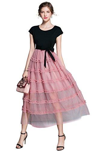 LAI MENG Damen Sommerkleid Kurzarm top Patchwork Rosa Rock mit Gestufter Saum Maxi Kleid Casual Partykleid Cocktailkleid