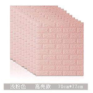 CptBtptPQz Papel pintado autoadhesivo de ladrillo 3d de 10 piezas, adhesivo de pared suave de espuma anticolisión impermeable, rosa claro, 70 cm * 77 cm