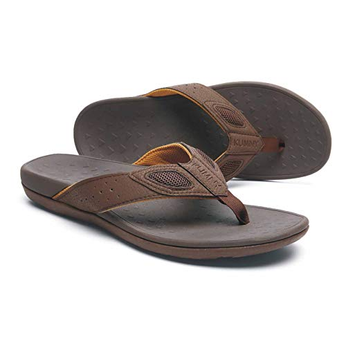 Orthotic Flip Flops Men's Thong Sandals with Arch Support for Comfortable Walk for Plantar Fasciitis Flat Feet Heel Pain charcoal&tan Size 9