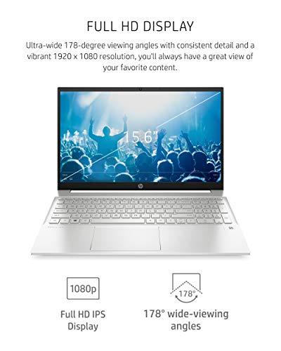 Product Image 8: HP Pavilion 15 Laptop, 11th Gen Intel Core i7-1165G7 Processor, 16 GB RAM, 512 GB SSD Storage, Full HD IPS Micro-Edge Display, Windows 10 Pro, Compact Design, Long Battery Life (15-eg0021nr, 2020)