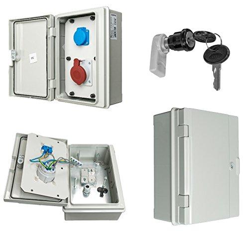 Wandverteiler Baustromverteiler IP65 1xCEE/16A 1xSchuko 230V verdrahtet + Metallschloß