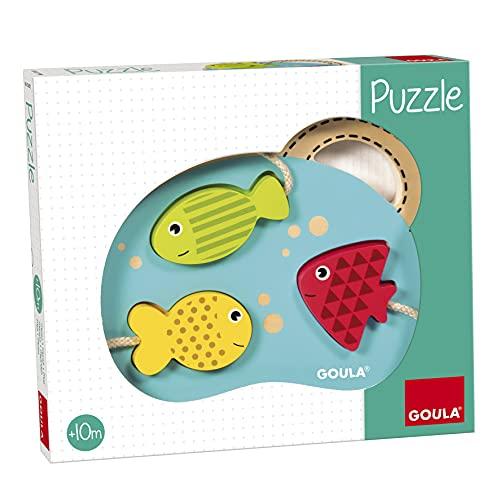 Goula - Puzzle 3 peces, Encajable de madera para bebés a partir de 10 meses (Juguete)