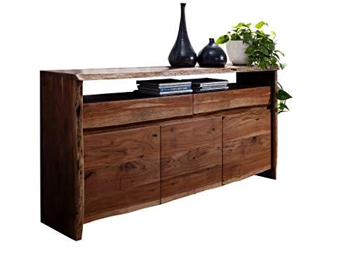 SAM Sideboard Nils II, Akazienholz massiv & nussbaumfarben, Kommode mit 3 Türen, 2 Schubladen & einem offenen Fach, echte Baumkante, 191 x 96 x 45 cm