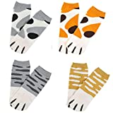Moent Calcetines de Moda 4 Pares Cute Cat Claws Calcetines Gatos de algodón Ear Kitty Tobillo Short Sock Funny Paw