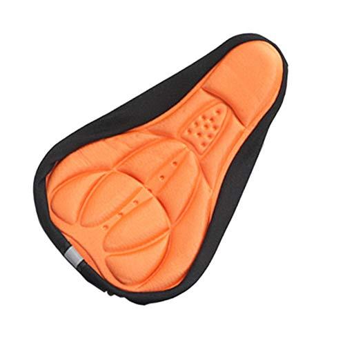 MCNDJIRE Asiento de Silla de Montar en Bicicleta 3D de la Bici Cubierta Suave cómodo de la Espuma del Amortiguador de Asiento for la Bicicleta Ciclismo Silla Accesorios de la Bici (Color : Orange)
