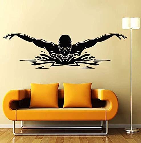Calcomanía de pared de nadador, piscina, deporte acuático, vinilo atlético, pegatina de pared para el hogar, decoración de dormitorio para niños, Mural artístico impermeable 58 * 17Cm