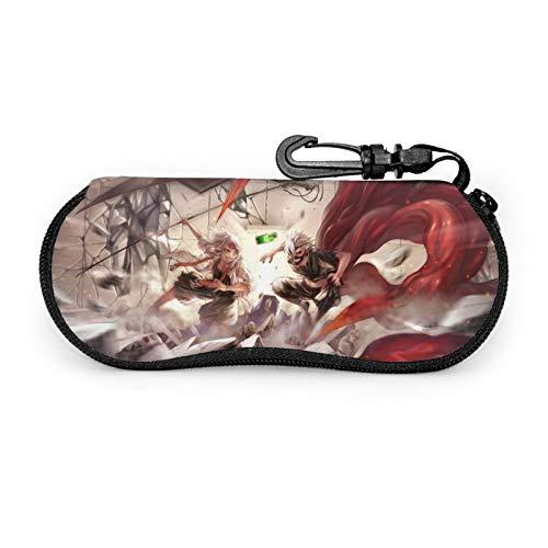 Anime Tokyo Ghoul - Funda protectora para gafas de viaje portátil con cremallera de neopreno suave para gafas con cremallera y gancho para cinturón antirrobo