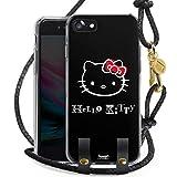 DeinDesign Carry Hülle kompatibel mit Apple iPhone SE (2020) Hülle mit Kordel aus Leder Handykette zum Umhängen schwarz Gold Kawaii Fanartikel Hello Kitty