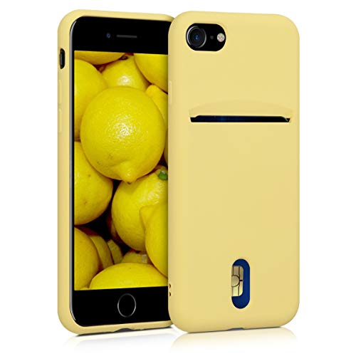 kwmobile Cover Compatibile con Apple iPhone 7/8 / SE (2020) - in Silicone Morbido - Custodia con Scomparto Porta Carte Biglietti - Back Case Giallo Matt