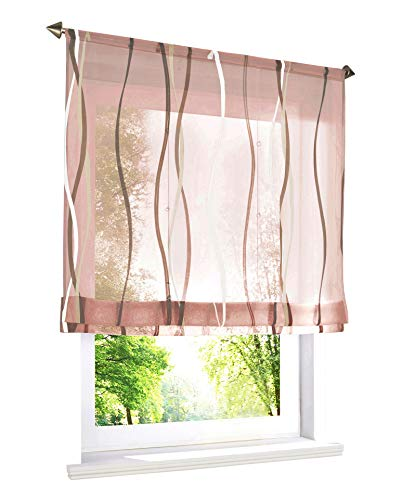 BAILEY JO Estor con estampado de ondas de colores, cortina de voile (ancho x alto 100 x 140 cm, arena con cordón)