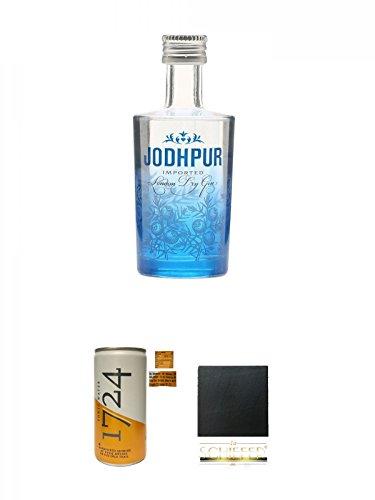 Jodhpur Premium London Dry Gin England 0,05 Liter MINI + Tonic Water 1724 Dose 0,20 Liter + Schiefer Glasuntersetzer eckig ca. 9,5 cm Durchmesser