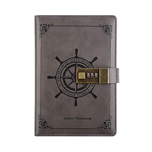 Elonglin Caderno de couro PU retrô diário secreto com senha, organizador de encadernação de arame para agenda pessoal estilo caderno de esboços A-Cinza B6