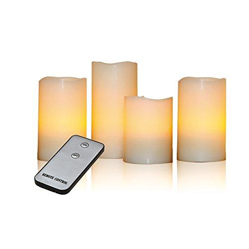 X4-LIFE LED Echtwachskerzen 4er Set - mit Fernbedienung - Indoor und Outdoor, Weihnachten, Advent - Farbe: Creme