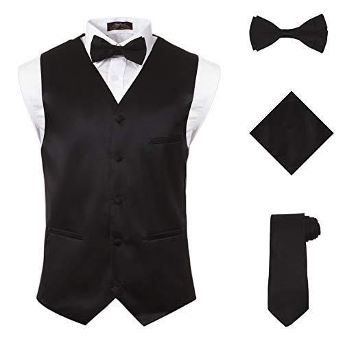 Vittorino's 4 Piece Formal Tuxedo Vest Set Combo with Tie Bow Tie and Handkerchief,Black,Large