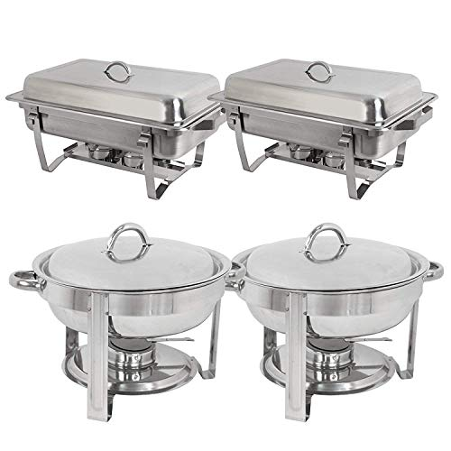 Stainless Steel 2 Round Chafing Dish + 2 Rectangular Chafers W/Water Pan, Food Pan, Fuel Holder and Lid