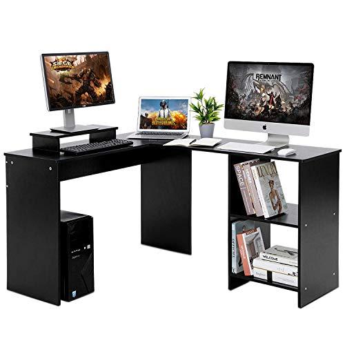 Llivekit Computer-Schreibtisch, L-förmig, großer Eck-Computertisch mit Bücherregal, Gaming-Schreibtisch