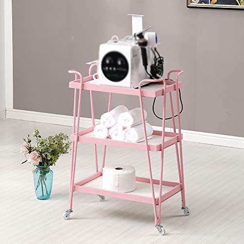 BCGT 3 Tier Rollwagen, Schönheit Mehrzweckwagen, Metallwagen, Make-up-Zug Koffer mit Rollen, for Küche Salon Garage Home Bad (Color : Pink)