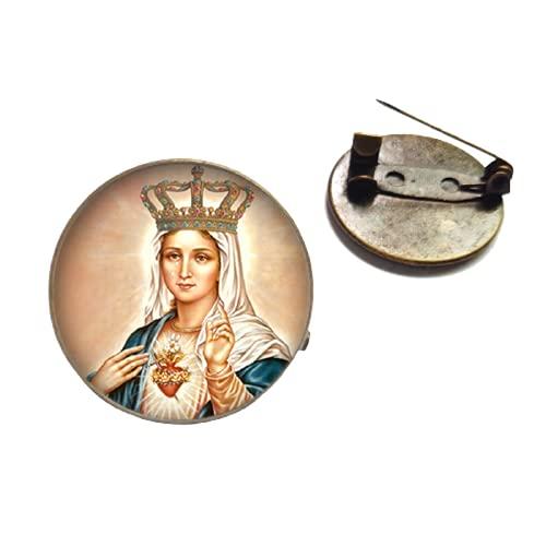 Broche de metal de bronce antiguo de la Virgen María, broche de cristal cabujón broches religión cristiana pines para mochila ropa