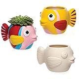 Baker Ross- Macetas de Porcelana en Forma de pez (Pack de 2) Que los niños Pueden Pintar y Decorar -Juego de Manualidades Infantiles con Porcelana