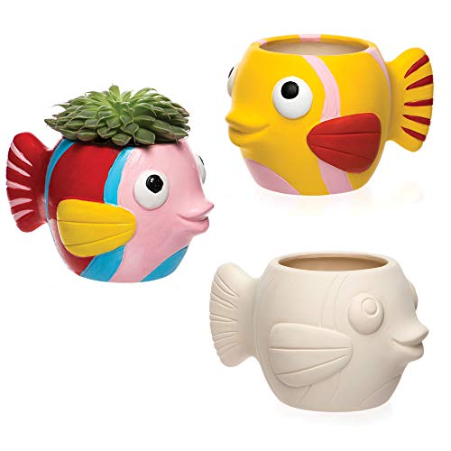 Baker Ross AR523 Fish Plant Pot, Ready to Paint Ceramics for Kids to Decorate and Display (Box of 2)