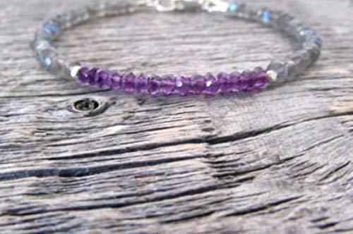 Gemswholesale - Pulsera de amatista, pulsera de labradorita, pulsera de piedra natal de febrero, joyería de amatista, joyería de labradorita de 3,5 a 4 mm