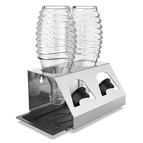 Lot de égouttoirs en acier inoxydable avec bac d'égouttoir - pour 2 bouteilles SodaStream - Passe au lave-vaisselle - support de couvercle