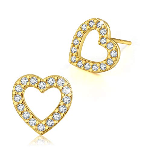 Gift for Christmas Esberry 18K Gold Plating 925 Sterling Silver CZ Hollow Love Heart/Swirl Stud Earrings Cubic Zirconia Hypoallergenic Earrings Jewelry for Women and Girls (Yellow Gold-Love Heart)