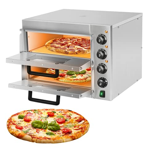 Commercial Pizza Oven Countertop 3000W 14'' Electric Pizza Oven Double Deck Layer Multipurpose Snack Oven for Restaurant Kitchen Home Pizza Pretzels...