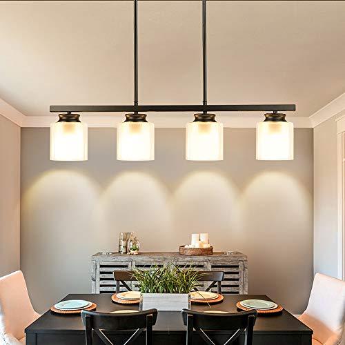 DLLT Kitchen Island Pendant Light Fixture, 4 Lights Metal Farmhouse Chandeliers, Vintage Flush Mount Ceiling Hanging Lighting with Glass Shade for Dining Room, Foyer, Restaurant, Bar, E26 Base