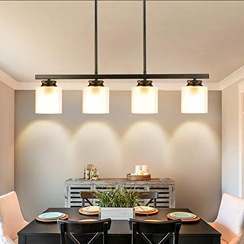 DLLT Kitchen Island Pendant Light Fixture, 4 Lights Metal Farmhouse Chandeliers, Vintage Flush Mount Ceiling Hanging Lighting with Glass Shade for Dining Room, Foyer, Restaurant, Bar, E26 Base