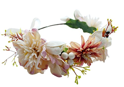 Flower Garland Crown Adjustable Flower Headband Hair Wreath Floral Headpiece Halo Boho with Ribbon Wedding Party Festival Photos Ivory by Vivivalue