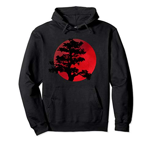 Japanese Bonsai Tree Hoodie Japanese Tradition Graphic Art Pullover Hoodie