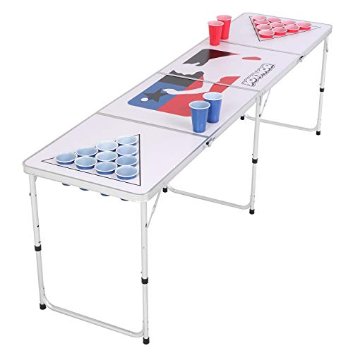 PEXMOR 8 FT Folding Beer Pong Table with Cup Holes & Safety Lock, Portable Beer Game Table Height Adjustable Lightweight with 24 Cups & Ping-Pongs,Upgraded Stability Pong Game Tables,White