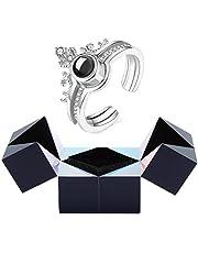 Alan Joyero Creativo con Anillo y Rompecabezas, I Love You Pulsera con Anillo de proyección con Caja de Anillo con Cubo mágico Caja de Regalo giratoria
