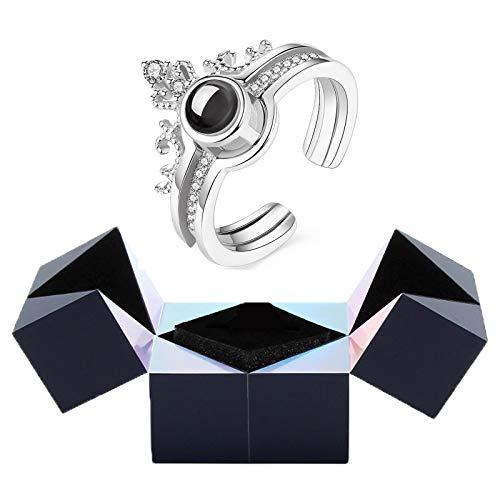 Joyero Creativo con Anillo y Rompecabezas, I Love You Pulsera con Anillo de proyección con Caja de Anillo con Cubo mágico Caja de Regalo giratoria (Color : Silver)